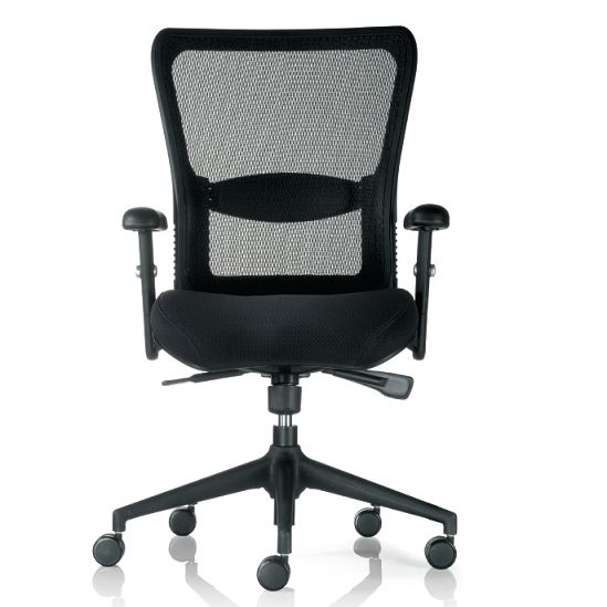 M1 Mesh Task, Executive and Boardroom Chair. M1 is extremely popular in management and executive offices and features adjustable synchronised mechanism, height adjustable arm rests, padded pre-molded seat cushion, active plus adjustable lumbar support and a breathable mesh back. It comes with a gas lift to adjust the height of the chair and is on a 5-star black base with castors. M1 complies with AFRDI level 6, severe commercial.