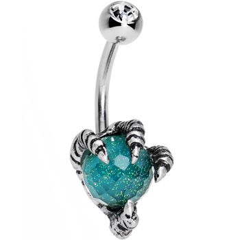 Clear Gem Aqua Globe Stainless Steel Take Me Talons Belly Ring | Body Candy Body Jewelry