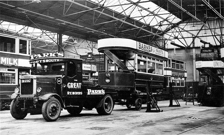 Southampton Motor Cars >> Portsmouth Tram Depot, early-mid 1900s.   Portsmouth Past in 2019   Portsmouth, Southampton ...