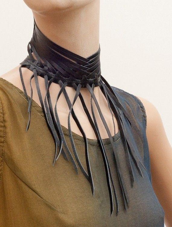 Fringe leather collar Shredded black leather Neck by MetamorphDK, $44.00