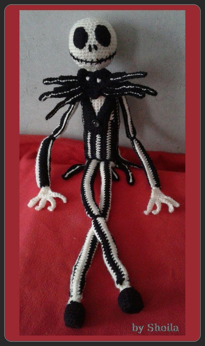 Portrait of Jack Skellington. crochet by Sheila.