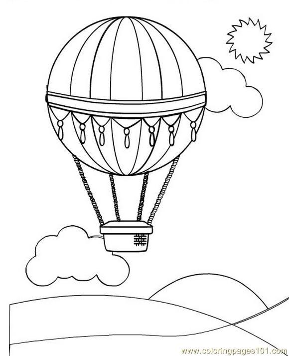 Free Printable Coloring Image Hot Air Balloon 2