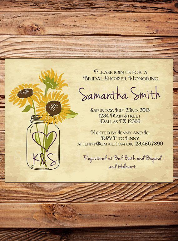 Bridal Shower Invitation, Rustic Sunflowers Mason Jar,Vintage Mason Jar Invitation, Gray, Brown, Mason Jar, Sunflower, Wedding Shower (6175) on Etsy, $21.00