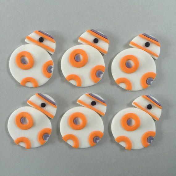 12 Star Wars BB8 Cupcake Toppers-Fondant