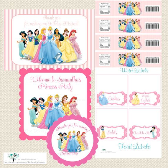 Disney Princess  Inspired Personalized Printable Party Package- DIY File