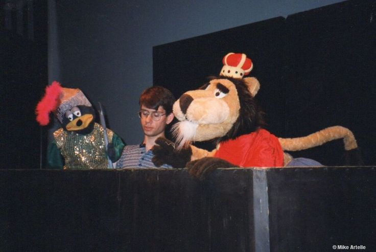 Performing with my puppets at the 5th National Puppetry Conference in Waterford, Connecticut, 1995. I'm operating Tyler the Bear next to King Brian the Lion.