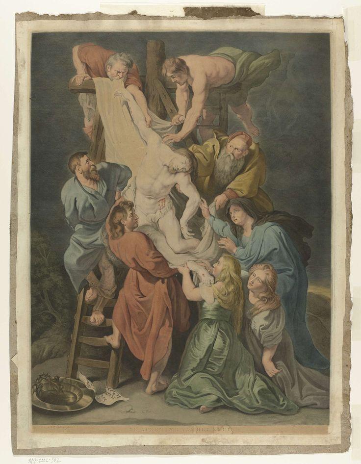 Charles Howard Hodges | Kruisafneming, Charles Howard Hodges, Evert Maaskamp, 1805 | Het lichaam van Christus wordt door Jozef van Arimatea en Nikodemus van het kruis afgehaald. Johannes neemt het lijk aan, geholpen door de drie Maria's. Twee andere mannen helpen ook. Op de voorgrond de doornenkroon en spijkers.