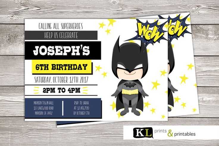 Batman Birthday Invitation, superhero invite,  Personalized Invitation, Digital Invitation, boys super hero party, birthday invite, batman by KLprintsandprintable on Etsy