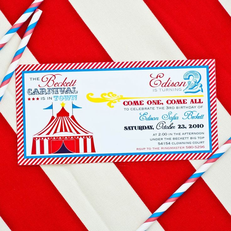 49 best Circus Party images on Pinterest Circus party - circus party invitation