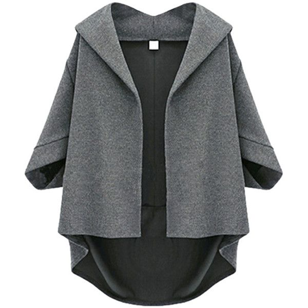 Pink Queen Dark Gray Irregularly Batwing Sleeve Pretty Womens Blazer (160 ILS) ❤ liked on Polyvore featuring outerwear, jackets, blazers, dark grey blazer and dark grey jacket