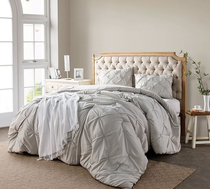 Bedding for Queen Beds - Silver Birch Pin Tuck Queen Comforter - Cheap Comforters