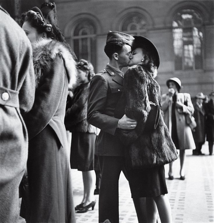 In 1944, LIFE's Alfred Eisenstaedt captured a private moment repeated in public millions of times over the course of the war