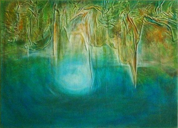 Blue landscape turquoise lake painting Blue lake by AnnaKisArt