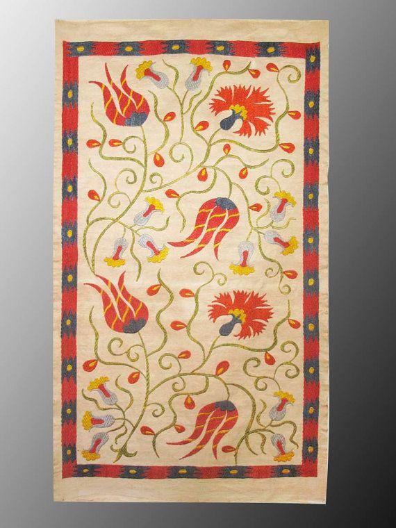 Bukhara Uzbek silk handmade embroidery suzani by SunSilkFlowers, $59.00