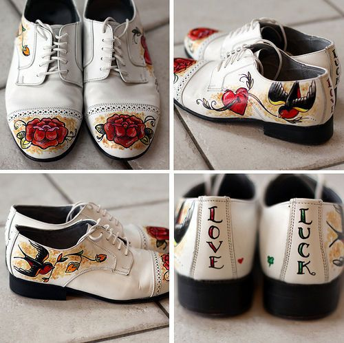 Mens Rockabilly wedding shoes!! ...something like this with Chucks?