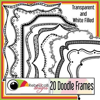 Doodle Frames contains 20 different doodle frames, white filled and transparent of each, rectangular in shape and approx 7x9 inches in size. There are a total of 40 Doodle Frames in this set and they can be rotated, reduced or increased in size easily.