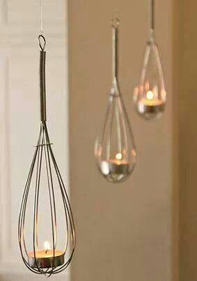 Whisk lanterns. I wish I could think of things like this! #pamperedchef #decorations #shower www.pamperedchef.biz/lizbennett