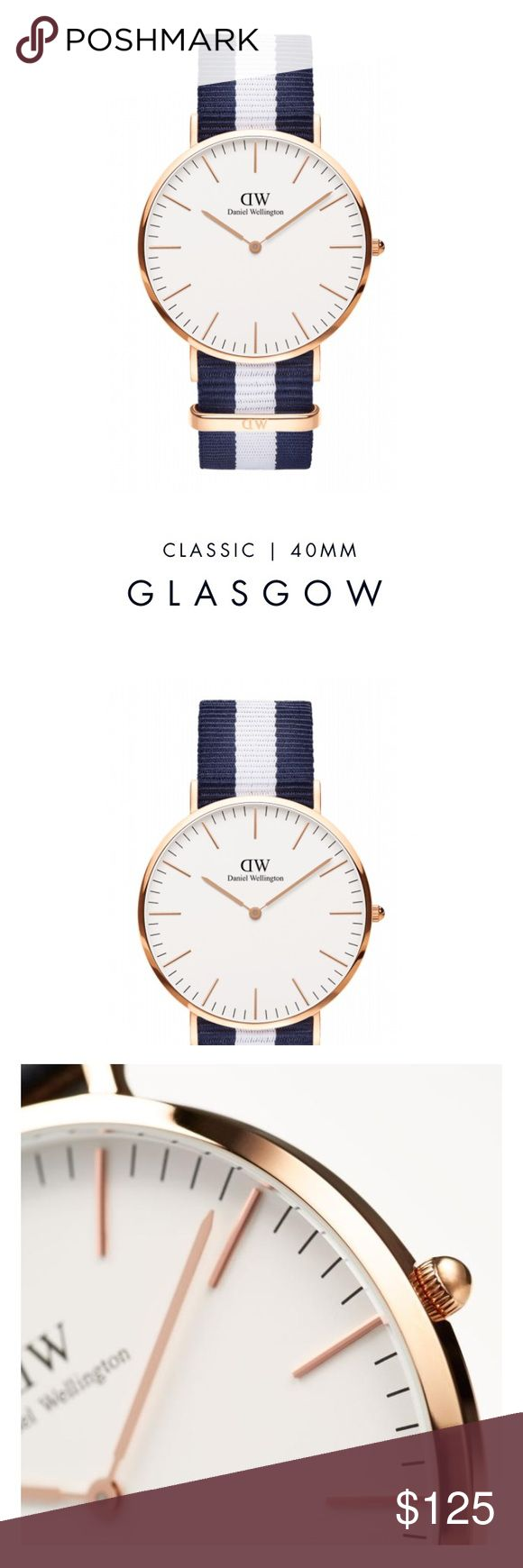 Daniel Wellington NATO Classic Glasgow Rose Gold Brand new in box with tags and manual. Never been worn Ladies Women's Daniel Wellington DW 40mm Classic Glasgow Rose Gold with blue and white NATO nylon Strap. Never been worn. New in box with tags! $195.00+tax retail. My mom bought this for me but I wear an Apple Watch everyday instead. Worth $215 dollars brand new. Daniel Wellington Accessories Watches