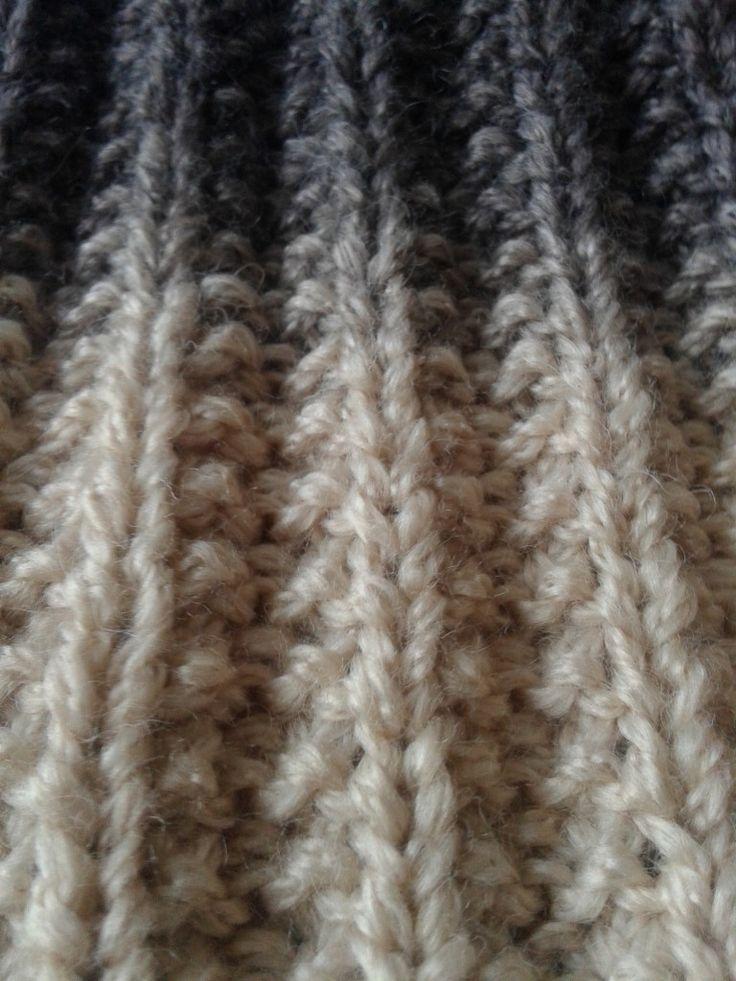 hamis mackókötés, bordás minta, kétoldalas minta