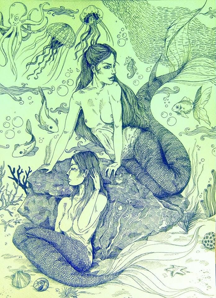 Underwater dream, pen drawing