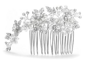 Floral hair accessory available in Silver with white flower petals brushed in silver accents with white pearls and Swarovski crystal rhinestones or Gold with ivory flower petals brushed in gold accents with ivory pearls and Swarovski crystal rhinestones.