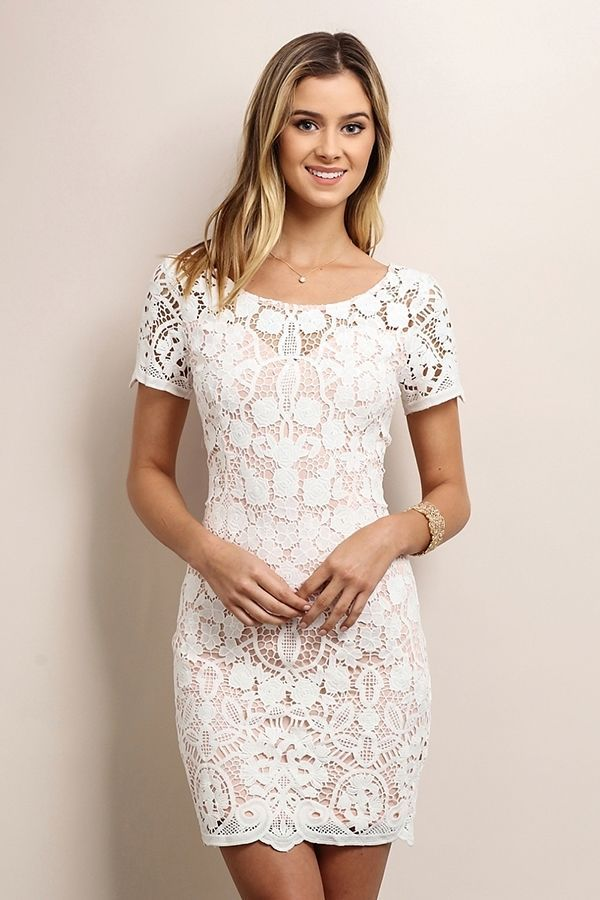 Short Sleeve Ivory and Pink Lace Short Dress Wedding Party Summer Size Medium  | eBay