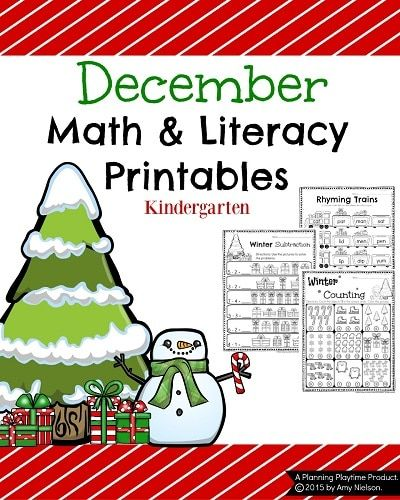 Check out these adorable Kindergarten Math and Literacy worksheet activities for the month of December. Count, color and read with fun winter favorites.