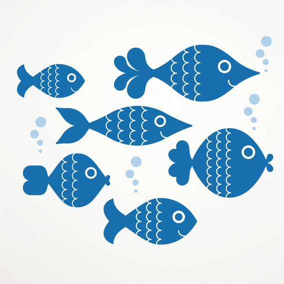 Ocean Big Fish Wall Decals, Kids Underwater Nursery: SWIM RIGHT on Etsy, $16.00