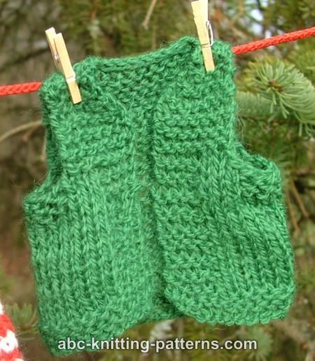 ABC Knitting Patterns - Santa's Elf Outfit for 14 inch Dolls: Vest.