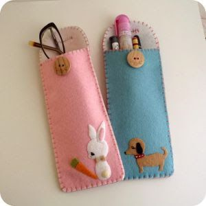 crafting with felt-Back to School ~ DIY Pensil Cases, or eye glasses case
