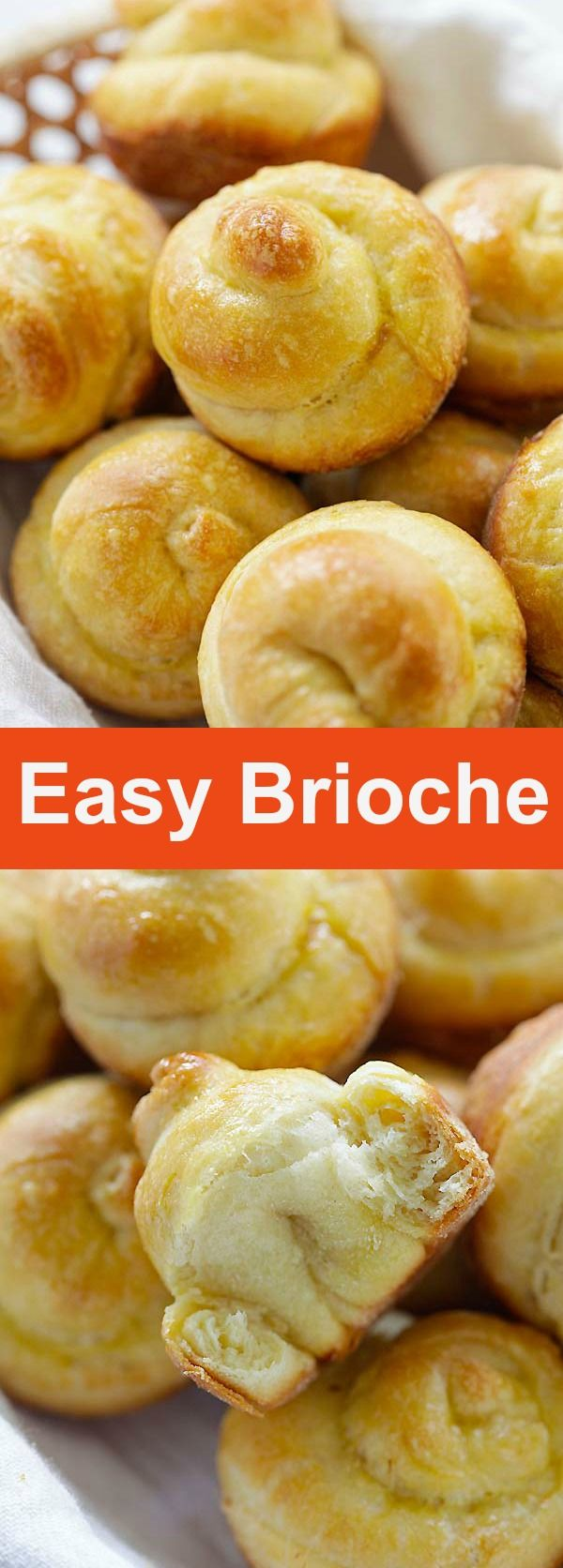 Easy Brioche – the easiest homemade French Brioche recipe ever! It's eggy, buttery, puffy and flaky with a crispy crumbs that you can't stop eating | rasamalaysia.com