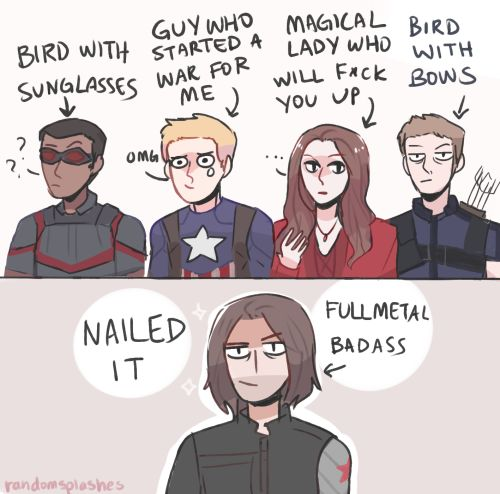 art by randomsplashes if bucky had to give nicknames for some people on team…