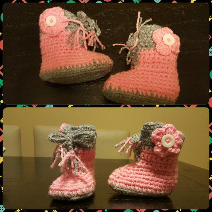 Botitas con cordones a crochet - T: bebe