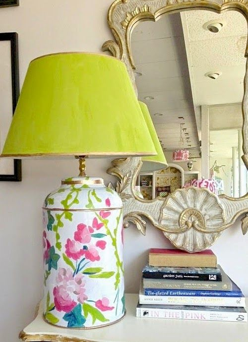 Lime Green & Floral Lamp