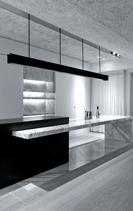 Kitchen: mix white marble (not on counter tops) with black detail and black glass