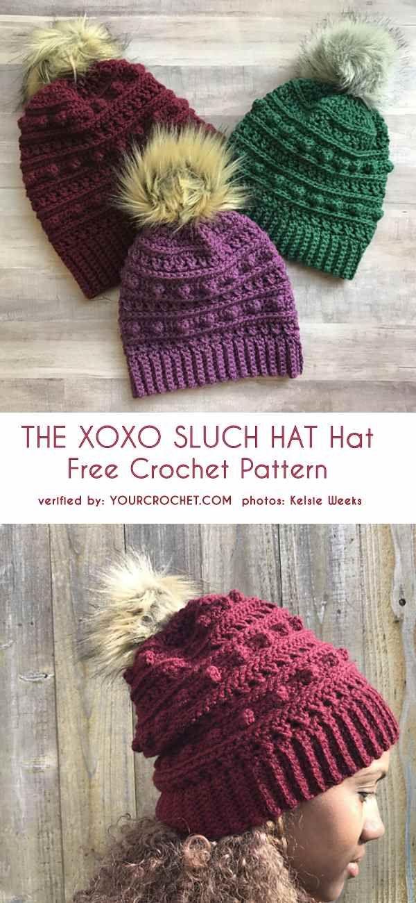 The Xoxo Slouch Hat Free Crochet Pattern Crochet Hat Patterns