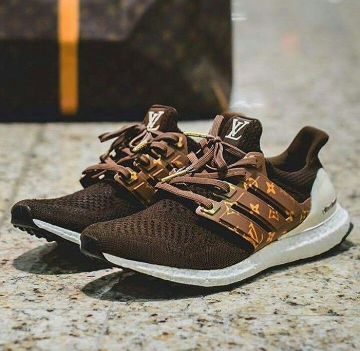 adidas Ultra Boost Louis Vuitton by Dent Kicks Custom features a Chocolate  Brown Primeknit upper with LV tongue tags, and Louis Vuitton logos on the  cage.