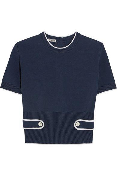 Miu Miu - Stretch-knit Top - Navy - IT38