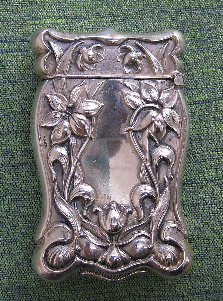 Art Nouveau Sterling Silver Vesta (match safe) with Lily Embellishments