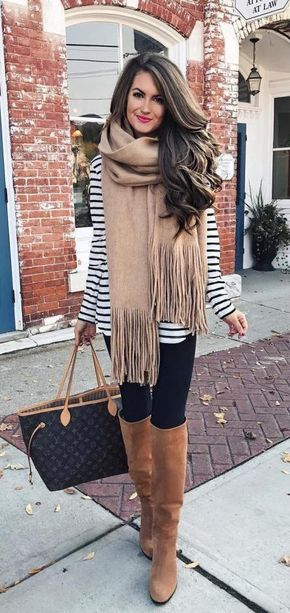 Cute fall outfit! Black and White striped long sleeve tee, black leggings, call Camel colored boots & fringed scarf.
