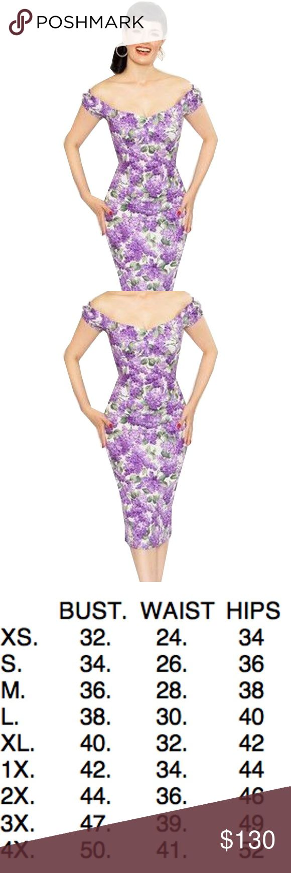 Bernie Dexter Scarlett Dress in Lilac Print Scarlett Pin Up Dress in white lilac Print. It is made from 100% cotton. This dress was named after a pin up Bettina Scarlett! It features elasticated sleeves and boning in the bust for support! Long zipper in back. Red Carpet worthy.  made in the USA DRY CLEAN or Cold Wash hang dry Bernie Dexter Dresses Midi