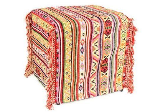 Handmade Kilim Ottoman Slipcover Woven Decorate Ottoman Custom