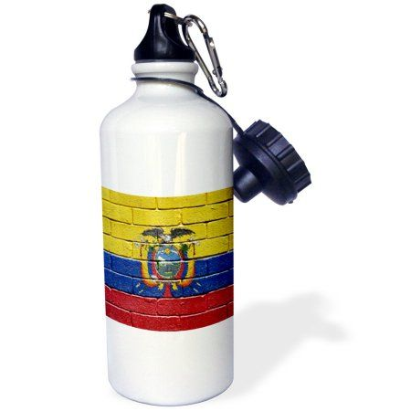 3dRose National flag of Ecuador painted onto a brick wall Ecuadorian, Sports Water Bottle, 21oz, White