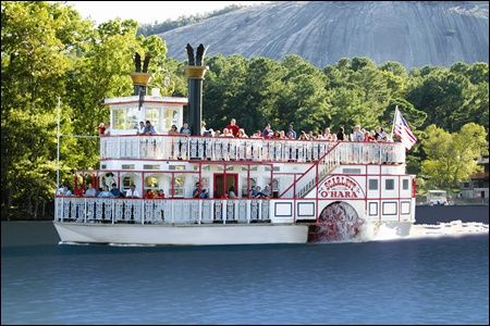 The Scarlett O'Hara paddle wheel riverboat at Stone Mountain Park, Georgia - I would enjoy a trip aboard this!!  My husband is an engineer on the ferry's that go from Cape Cod to the islands, so I am sure he would like this as well.