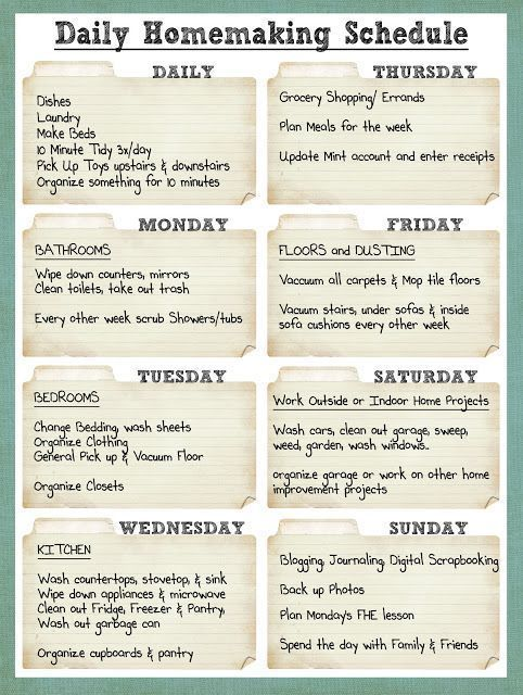 Smile Like You Mean it: Cleaning Schedule - if I ever am a stay-at-home' er I would like to do a schedule like this time management work from home time management