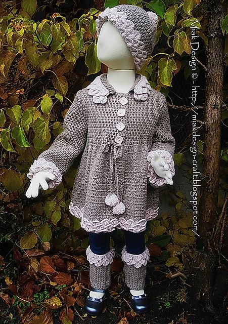 Ravelry: Cardigan with Crocodile edges and Pompoms pattern by Miak Design