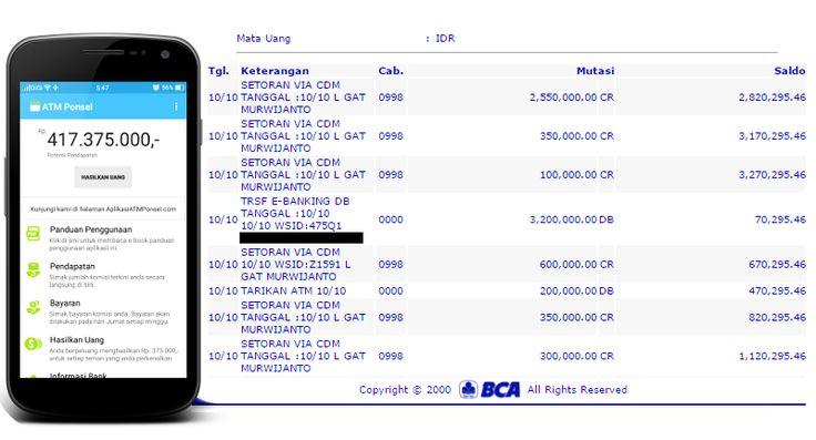 screen capture duit berkantor akun bank aplikasi atm ponsel