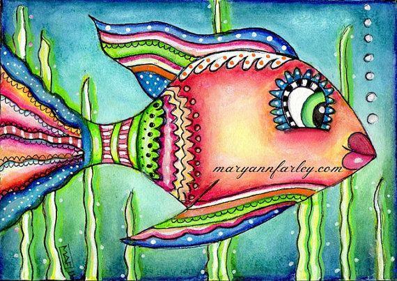 Dieser Fisch Kunstdruck ist perfekt für Fans von nautischen Illustration, Meeresbewohner, Meer, Meer und Strand!  Jeder Druck kommt in zwei Größen,