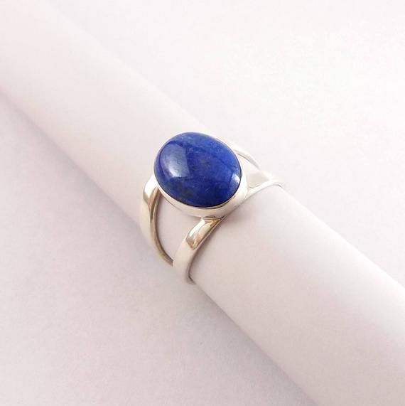 Lapis lazuli ring genuine gemstone statement ring OOAK jewelry natural blue stone gift for her 925 Sterling silver ring Lapis ring