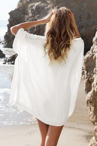 Kimonos Kimono Blanc Crochet Poncho Beachwear